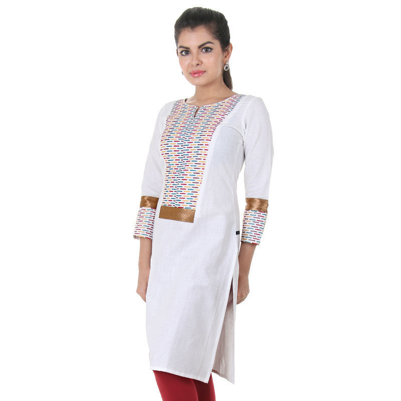 eSTYLe Slub Cotton White Kurta With Colourful Thread Work