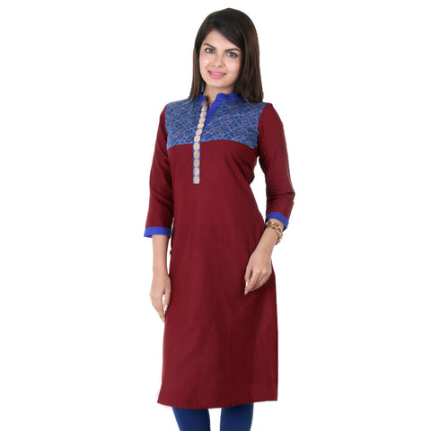 eSTYLe Maroon Casual Cotton Kurta With With Lace Yoke