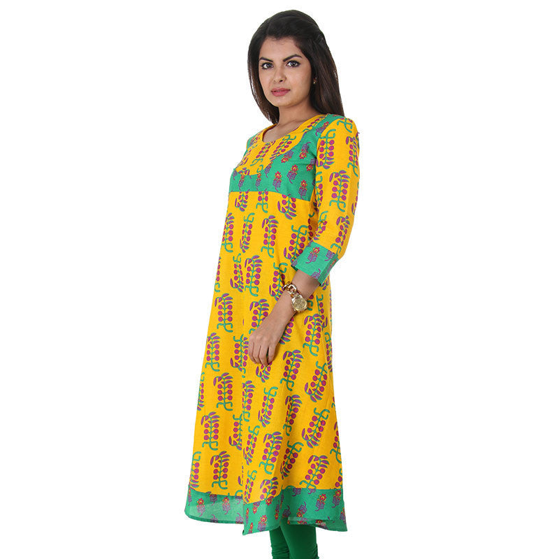 Elegant Printed Yellow With Green Anarkali From eSTYLe