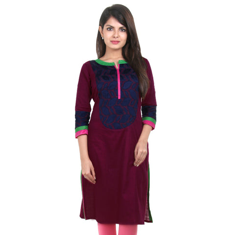 eSTYLe Grapewine Slub Cotton Kurta With Blue Jacquard Yoke