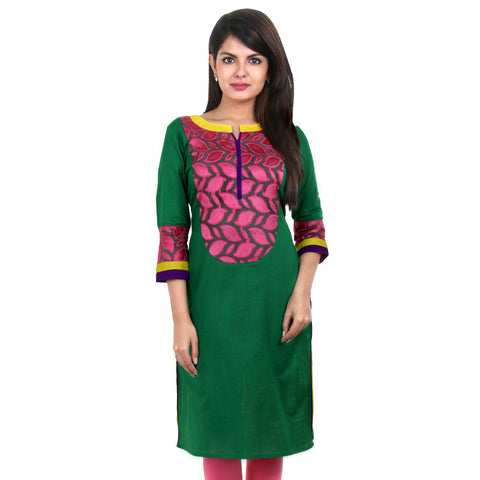 eSTYLe Green Slub Cotton Kurta With Pink Jacquard Yoke