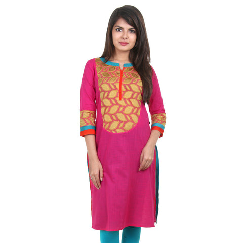 eSTYLe Magenta Slub Cotton Kurta With Yellow Jacquard Yoke
