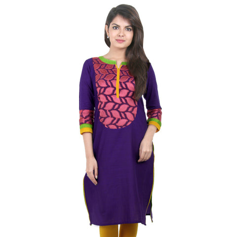 eSTYLe Violet Slub Cotton Kurta With Pink Jacquard Yoke