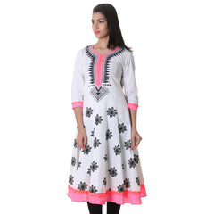 eSTYLe Snow White Printed Cotton Stylish Anarkali