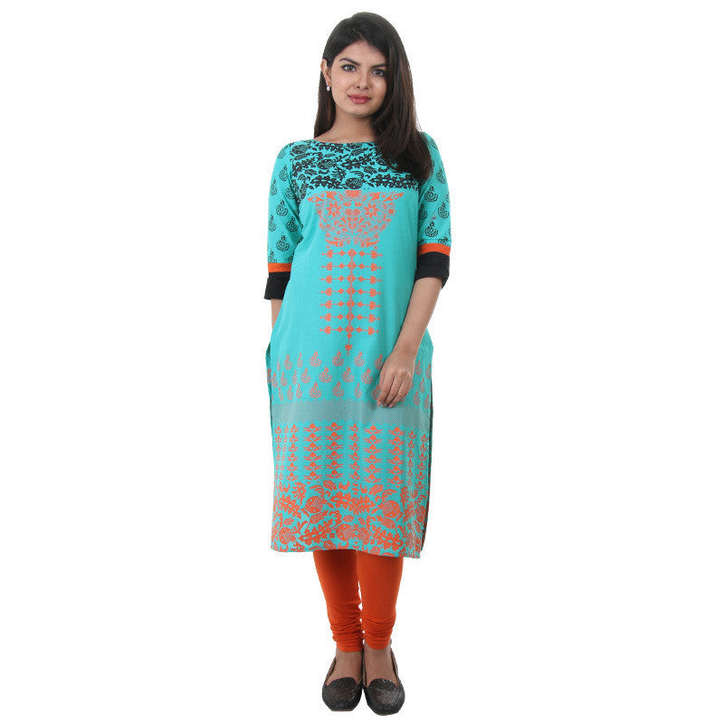 Scuba Blue Floral Printed Cotton Kurta From eSTYLe
