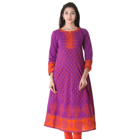 Elegant eSTYle Purplish Wide Flare Anarkali With Orange Prints