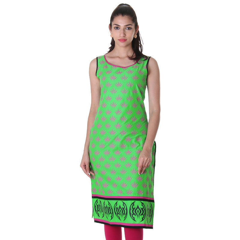 eSTYLe Vibrant Green Sleeveless Kurta With Contrast Piping.