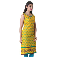 Daffodil Yellow Printed Cotton Kurta From eSTYLe