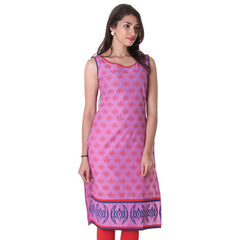 Pretty Pink Sleeveless Boat Neck Kurta With Allover Prints From eSTYLe.