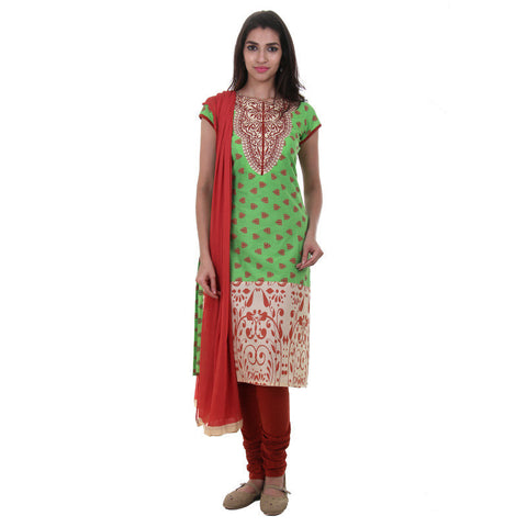 3Pce Set - Green With Cream Kutra With Embroidered Yoke Chudi And Chiffon Dupatta