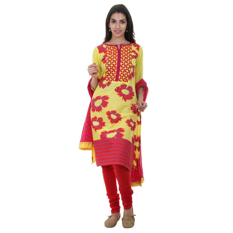 3Pce Set - Bright Yellow With Red Printed Kurta With Chudi And Chiffon Dupatta