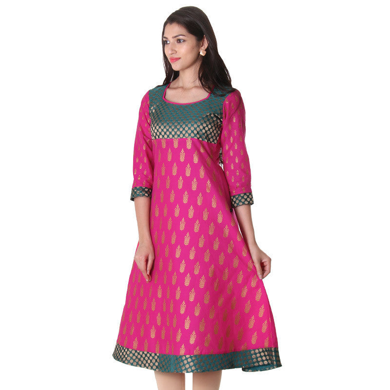 eSTYLe Attractive Pink Traditional Anarkali With Contrast Brocade Yoke.