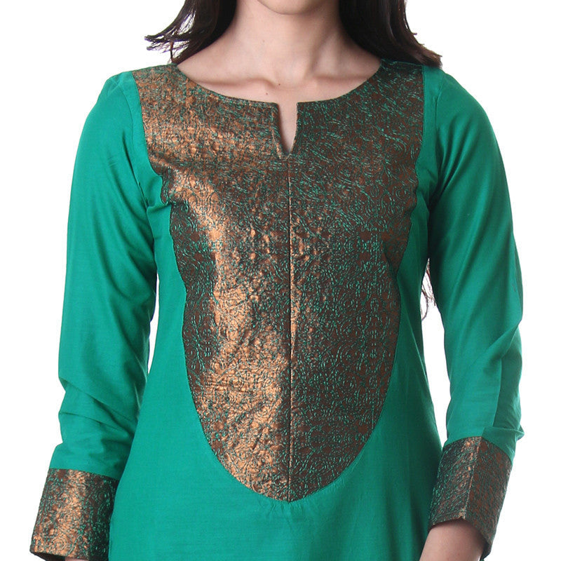 Columbia Green Fashion Kurta With Elegant Embroidery From eSTYLe
