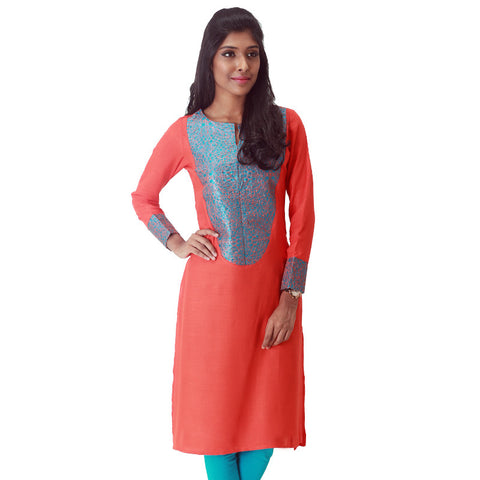 Spicy Orange Slub - Rayon Kurta With Elegant Embroidery From eSTYLe