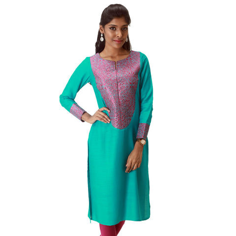 Blue Grass Slub - Rayon Kurta With Elegant Embroidery From eSTYLe