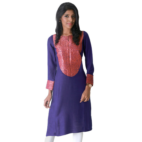 Twilight Blue Slub - Rayon Kurta With Elegant Embroidery From eSTYLe