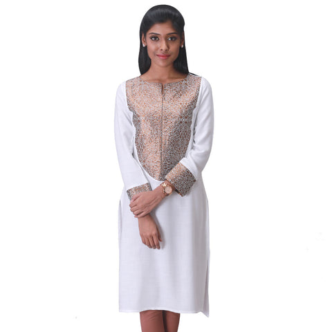 Cloud Dancer Slub - Rayon Kurta With Elegant Embroidery From eSTYLe