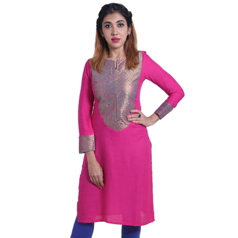 Fuschia Purple Slub - Rayon Kurta With Elegant Embroidery From eSTYLe