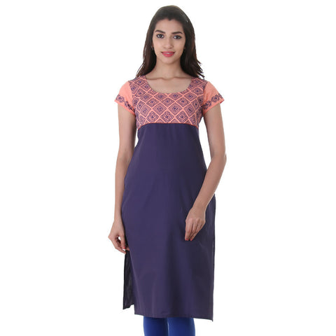 Casual Cotton Kurta In Navy Blue With Peach Shade From eSTYLe