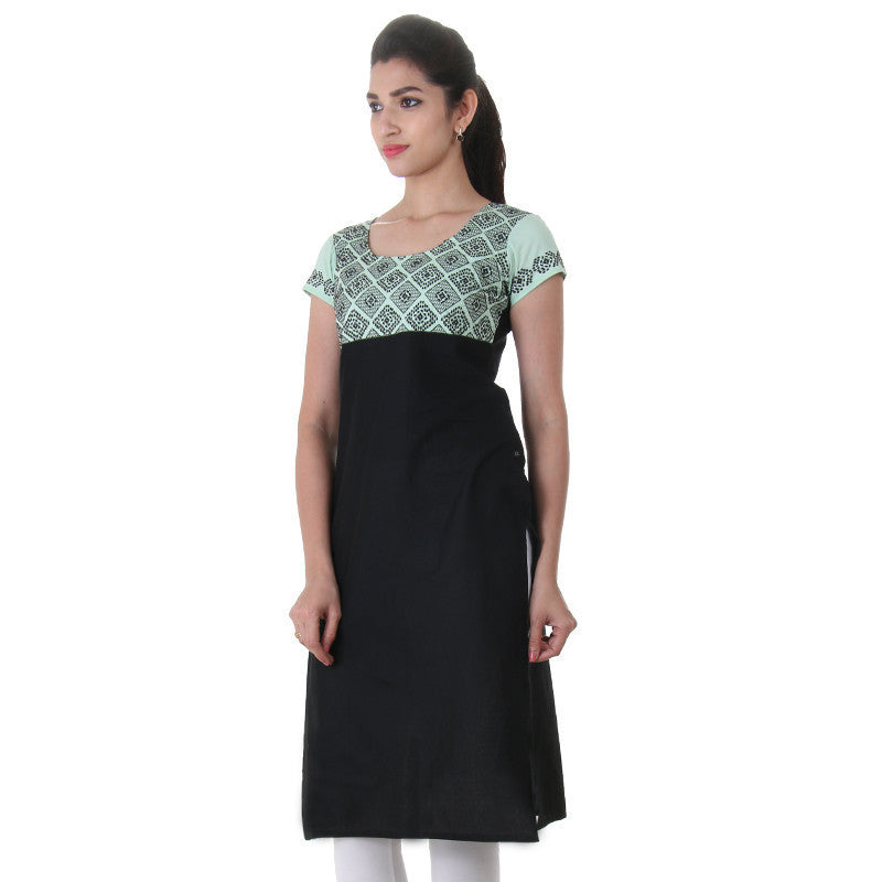 eSTYLe Casual Cotton Kurta In Black Shade With Embroidered Yoke