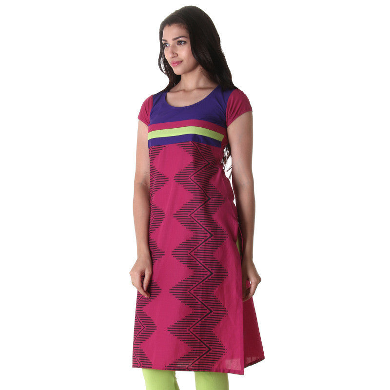 Fuchsia Cotton Kurta With Geometric Prints From eSTYLe