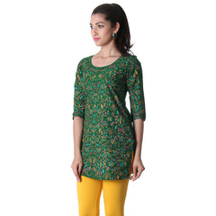Dark Green Printed Round Neck Tunic Top From eSTYLe.