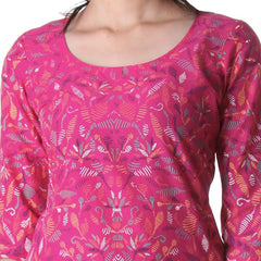 Beetroot Purple Round Neck Tunic Top With Contrast Prints From eSTYLe