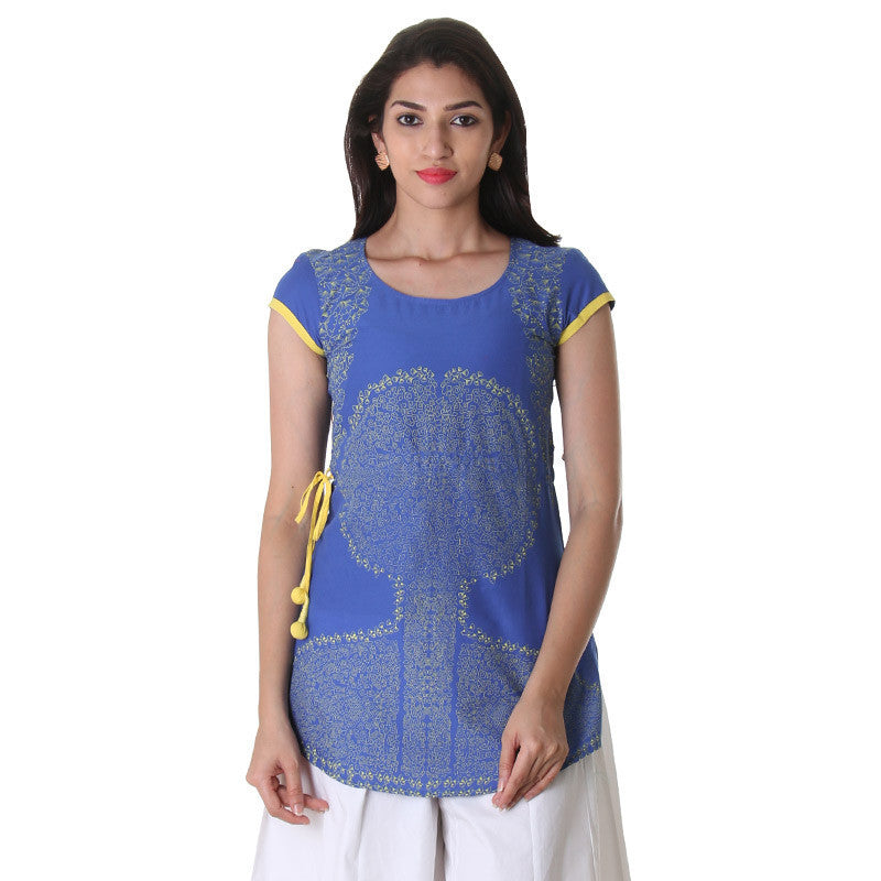 Dazzling Blue Printed Tunic Top With Adjustable Waist Belt.