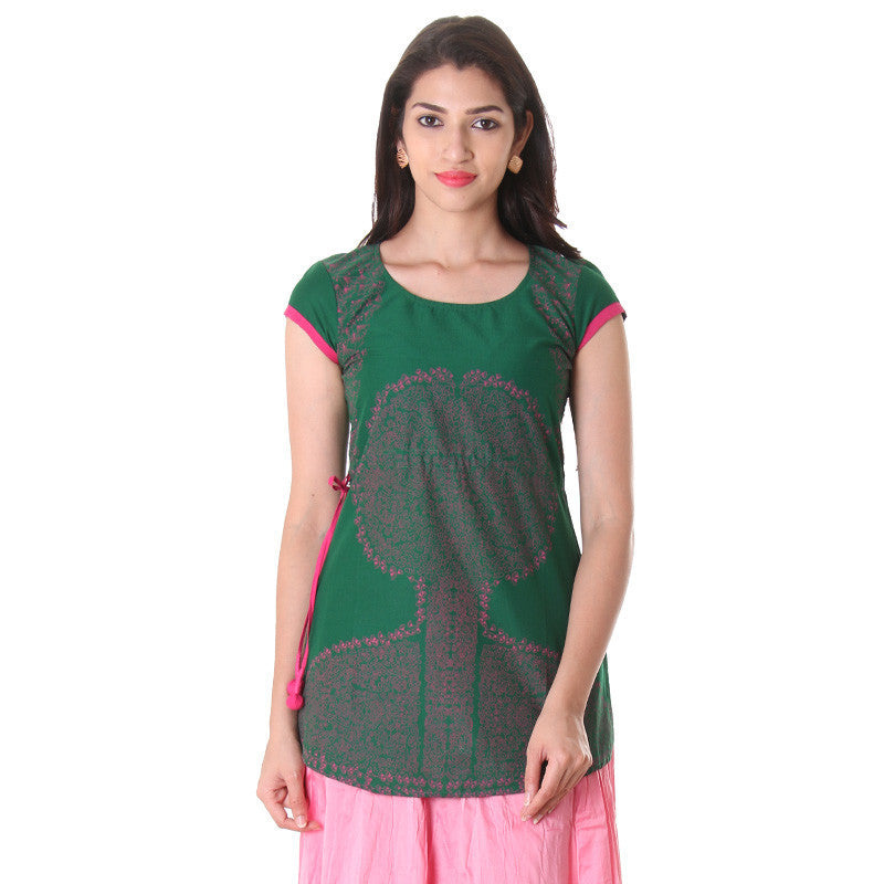 Dark Green Mega Sleeve Printed Kurta With Adjustable Waist Belt From eSTYLe.