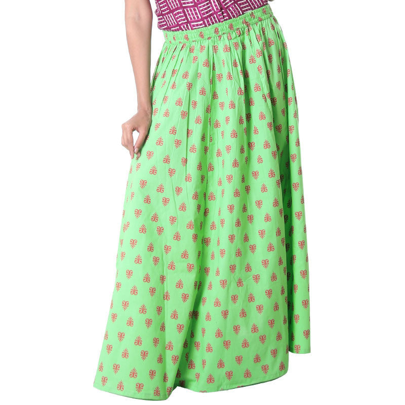 eSTYLe Absinthe Green Printed Flaired Long Skirt