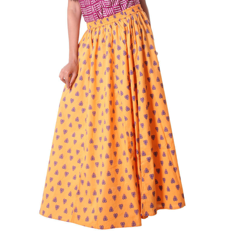 Pumpkin Orange Contrast Floral Design Long Skirt from eSTYLe