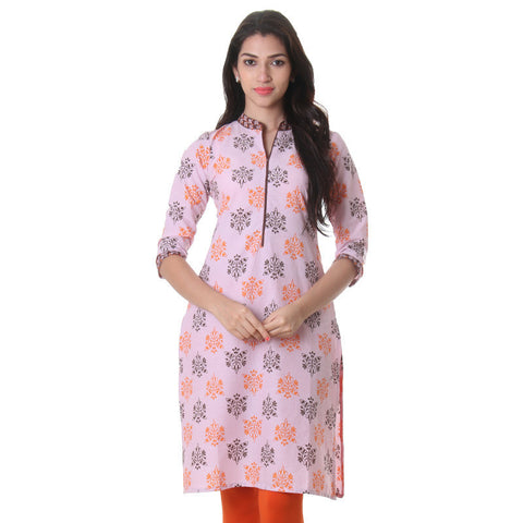 Pink Lavender Stand-Collar Cotton Kurta From eSTYLe