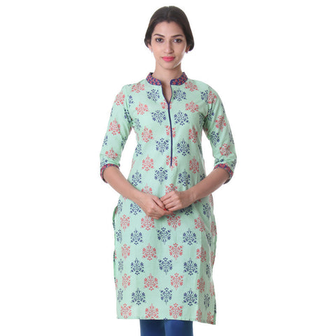 eSTYLe Cameo Green Cotton Printed Trendy Kurta