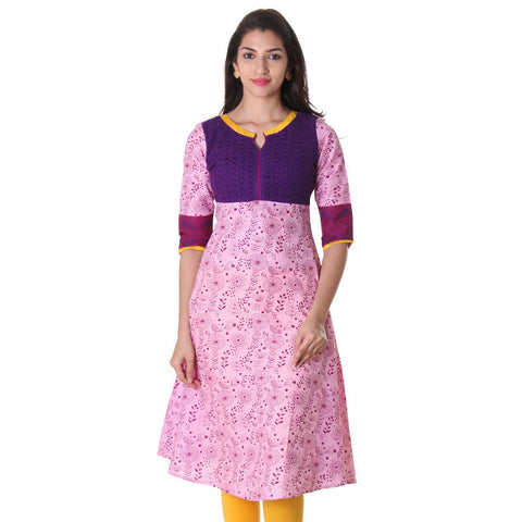 eSTYLe Moonlight Mauve Anarkali With Beautiful Laced Yoke And Contrast Facing Over Neck.