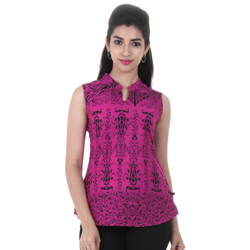 Western Tops - Magenta Printed Cotton Tops With Chinese Collar