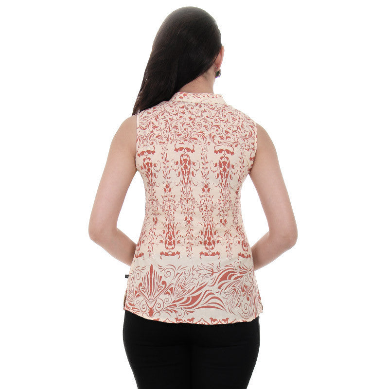 Western Tops - Beige Sleeveless Printed Cotton Tops From eSTYLe