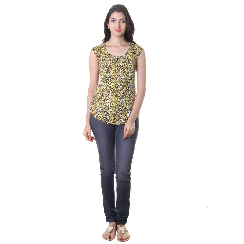 eSTYLe Leopard Print Polyster Trendy Top