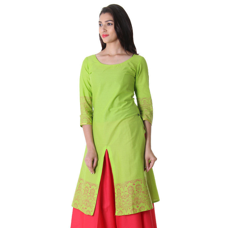 Green Glow Classic Boat Neck Kurta With Center Slit From eSTYLe.