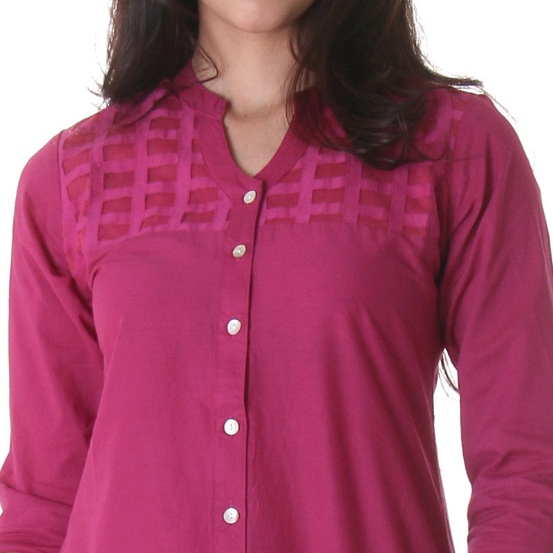 Casual Purple Tunic With Lace Work On Yoke