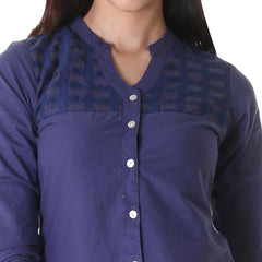 Casual Blue Tunic With Lace Work On Yoke