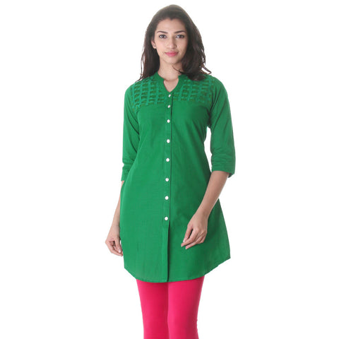 Casual Green Tunic With Lace Work On Yoke