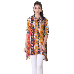 3/4th Sleeve Asymetrical Kurta With Geometric Prints.