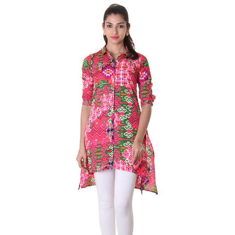 Shirt Collared Asymetrical Kurta With Geometric Prints.