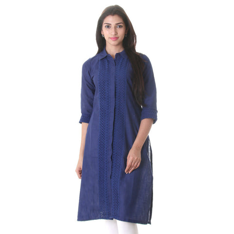 eSTYLe Royal Blue  Elegant Kurta With 3/4th Sleeves