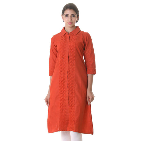 Burnt Orange Elegant  Kurta With Lace Work Along The Yoke