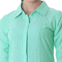 Opal Green Kurta With Attractive Lace Work Along The Yoke From eSTYLe