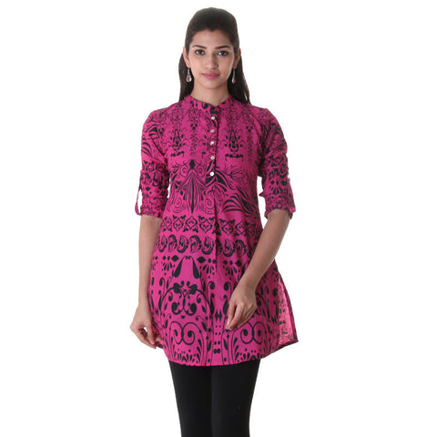 Beetroot Purple Chinese Collared Kurta With Enclosed Cuff From eSTYLe.