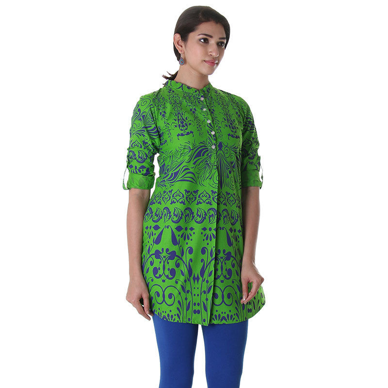 Vibrant Green Chinese Collared Kurta With Shell Button Along The Mid Line