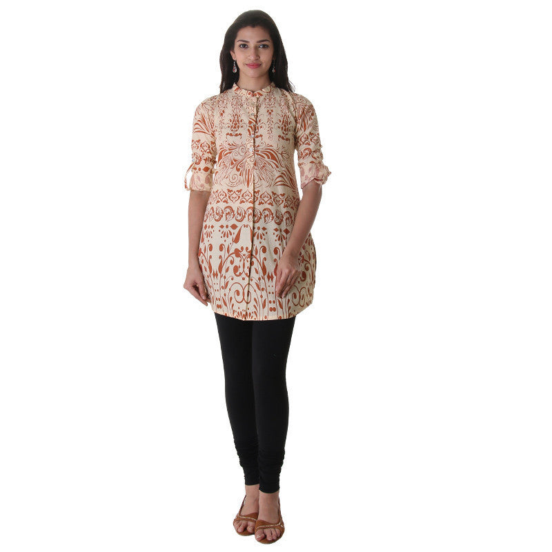 Winter Wheat  Floral Printed Chinese Collared Kurta With Enclosed Cuff