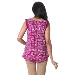 Raspberry Radiance Laced Sleeveless Casual Top From eSTYLe